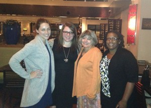 Bestselling YA novelist Cinda Williams Chima visited in the spring (pictured here with MFA writing students at dinner).